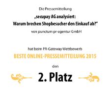 """punctum pr hat im Wettbewerb """"Beste Online-Pressemitteilung 2015"""" den 2. Platz belegt"""